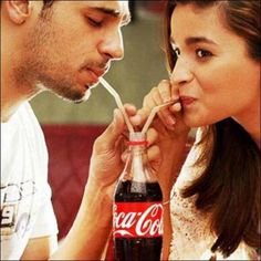 Alia Bhatt with Sidharth Malhotra in a Coca Cola advertisement. Bollywood Couples, Bollywood Photos, Bollywood Stars, Bollywood Fashion, Bollywood Celebrities, Cute Celebrity Couples, Celebrity Gossip, Cute Couples, Roy Kapoor