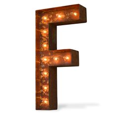"24"" Letter F Lighted Vintage Marquee Letters (Modern Font/Rustic)"