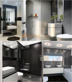 High Tech Interior Design is a modern design trend with focus on cutting-edge technology, straight lines, clear geometric shapes and futuristic furniture. Bathroom Design Small, Bathroom Interior Design, Modern Interior Design, Interior Ideas, Kitchen Design, Interior Decorating, Bathroom Goals, Bathroom Ideas, Classic Bathroom