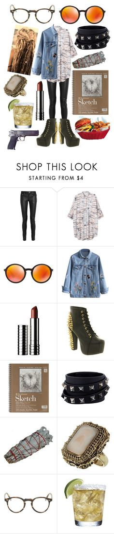 """""""Murder's not murder during war"""" by adventuregirl12 ❤ liked on Polyvore featuring Yves Saint Laurent, Monki, Ray-Ban, Clinique, Jeffrey Campbell, Valentino and Oliver Peoples"""