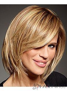 100% Human Hair Blonde Short Wigs Capless Straight
