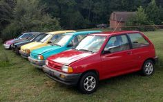 We wouldn't normally get too excited about a Ford Festiva, but when there's a whole hoard of anything, we take notice. The seller states that they have eight of these little guys and a huge stash of parts that. Kia Pride, Ford Festiva, Tire Pressure Gauge, Flat Tire, Class B, Eight, Extreme Weather, Inspirational Videos, Exotic Cars
