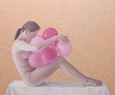 "Saatchi Art Artist Jinho Kee; Painting, ""balloons-hope"" #nude #Mementomori, #SouthKorea, #life, #hope, #dream, #realism, #photorealism, #carpediem, #painting, #JinhoKee #oilpainting #love  #exhibition #painting #finearts #saatchi #balloon"