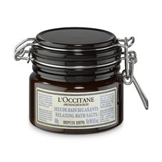 Aromachologie Relaxing Bath Salts by L'Occitane, a natural scented bath soak with salt crystals and essential oils for a soothing bath. Occitane En Provence, Natural Exfoliant, Sugar Crystals, How To Exfoliate Skin, Relaxing Bath, Bath Soak, Natural Essential Oils, Bath Salts, All Things Beauty