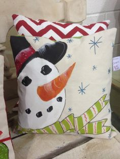Hand Painted Snowman Pillow by southernfrills1 on Etsy, $40.00