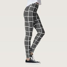 Shop Modern Black and White Basketweave Stripes Leggings created by jozanehouse. Cute Leggings, Best Leggings, Striped Leggings, Black Leggings, Bold Stripes, Leggings Fashion, Basket Weaving, Dressmaking, Black And White