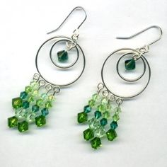 Double Drop Earrings with Swarovski Crystals - Green