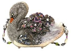 Graceful and elegant, Swan Lake will swim into your heart! Her hand laid pewter bead work, crystal encrusted flowers and decorative feather accents are the perfect combination of refinement and whimsy, sure to be a Mary Frances classic. Mary Frances Purses, Mary Frances Handbags, Unique Handbags, Unique Purses, Beaded Purses, Beaded Bags, Novelty Handbags, Shabby, Thing 1