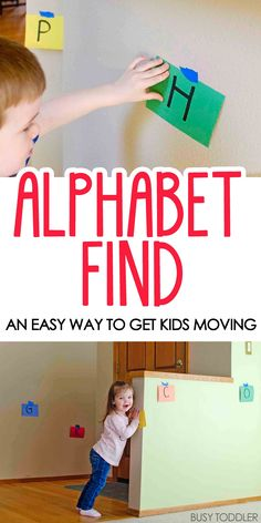 Motherhood Discover Alphabet Find Learning Activity - Busy Toddler Alphabet Find Learning Activity: What a fun and easy way to get kids active and moving! A perfect learning activity for toddlers and preschoolers working on their alphabet. Preschool Learning Activities, Indoor Activities For Kids, Toddler Preschool, Fun Learning, Toddler Alphabet, Alphabet Letters, Alphabet Activities For Preschoolers, Movement Activities, Games For Preschoolers Indoor