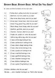 English worksheet: Brown Bear Brown Bear What Do You See