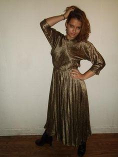 Vintage Debora Kuchume Designer Backless 100% Silk Long Elegant Gold Floral Print Dress Size 6
