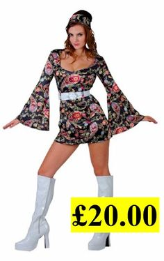 retro go go girl black flowery 60 s or 70 s fancy dress costume Totally Me 84a9590667a