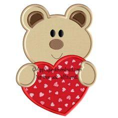 Valentine Teddy Applique Design