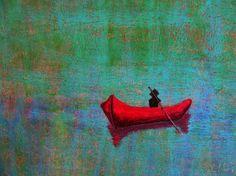 "Saatchi Online Artist: Rachel Cross; Pastel Painting ""Boat"" bizarre, boat, red, sail, drift, green, blue, serene, siren, mermaid, ocean, water, oil painting, mesmerizing, adrift"