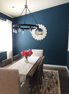 Navy blue dining room and mini house tour
