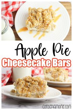Looking for a delicious recipe everyone will love? Then you need to run to the store and get all the ingredients for these heavenly Apple Pie Cheesecake Bars. This dessert is perfect for a fall afternoon or just because. Using a variety of textures and flavors these dessert bars will be a symphony of flavors in your mouth. #falldessert Pear Recipes, Healthy Dessert Recipes, Delicious Desserts, Yummy Food, Sweets Recipes, Apple Pie Cheesecake, Healthy Cheesecake, Vegetarian Desserts, Fall Desserts