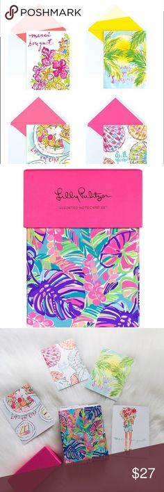 """🎃FALL SALE🎃Lilly Pulitzer Notecard Set Lilly Pulitzer Notecard Set, brand new with tags, 20 asorted notecards with envelopes, 5 each of 4 designs. 5.5"""" x 4.25"""". My price is final on this item. Lilly Pulitzer Accessories"""