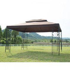 New Outdoor Gazebo Steel frame Vented Garden Gazebo Canopy Gazebo Curtains, Gazebo Canopy, Garden Canopy, Fabric Canopy, Outdoor Curtains, Cool Curtains, Brown Curtains, Outdoor Gazebos, Backyard Gazebo