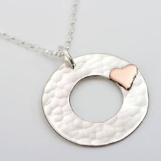 Personalised Beaten Silver Heart Disc Pendant from notonthehighstreet.com