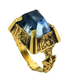This is an Iranian seljuq ring with sapphire from the 12th Century