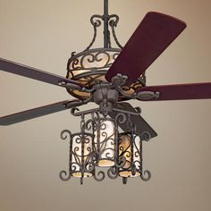 (Close up) John Timberland Seville Iron Ceiling Fan With Remote (Lamps Plus) Fancy Ceiling Fan, Unique Ceiling Fans, Ceiling Fan Chandelier, Ceiling Fan With Remote, Outdoor Ceiling Fans, Ceiling Lights, Room Lights, Timberland, Traditional Ceiling Fans