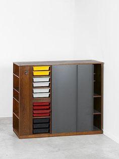 Charlotte Perriand and Le Corbusier; Oak, Metal and Plastic Room Divider for Maison du Brésil, 1959.