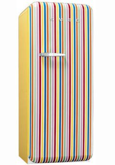 Buy Smeg Wide Retro Style Right Hinge Freestanding Fridge - Candy Stripe from Appliances Direct - the UK's leading online appliance specialist 1950s Design, E Design, Candy Stripes, Color Stripes, Tall Fridge, Freestanding Fridge, Smeg Fridge, Fridge Decor, Juan Les Pins
