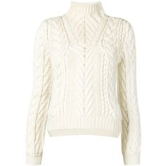 Altuzarra cable knit sweater ($895) ❤ liked on Polyvore featuring tops, sweaters, white sweater, cable-knit sweater, chunky cable knit sweater, white top and white cable sweater