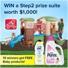 Enter to win Dial Baby Body & Hair wash and Purex Baby laundry detergent plus be entered to win the  Grand Prize of a Step 2 Suite worth $1000 and a years supply of both!  Good luck!