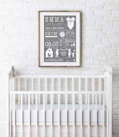 Geboorteposter voor op de babykamer: gepersonaliseerde baby geboorte poster met gewicht, lengte, naam en geboorteplaats van printcandy.nl.