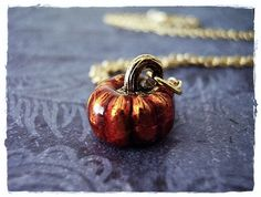 Orange Pumpkin Necklace - Orange Enameled Antique Gold Pewter Pumpkin Charm on a Delicate Gold Plated Cable Chain or Charm Only