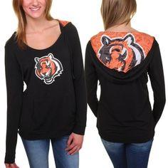 Women's CINCINNATI BENGALS Knit Hoodie Tiger Head Logo Small #CincinnatiBengals