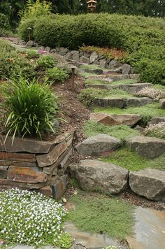Making a rock garden is among one of the most enjoyable and also imaginative forms of gardening. Rock garden landscaping to beautifuly natural backyard. Hillside Garden, Sloped Garden, Garden Paths, Contemporary Landscape, Landscape Design, Garden Design, Landscape Stairs, Terrace Design, Patio Design