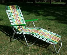 Vintage 1960's RARE Rainbow Folding Chaise Lounge Lawn Beach Chair Aluminum  Woven  Mid-Century Mad Men Guy Gift Retro Webbed Camping Chair