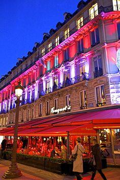 Fouquet's Restaurant at dusk, Avenue des Champs-Elysees,  Paris, France, Europe