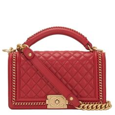 b50595e4c412 Chanel Red Quilted Calfskin Medium Boy Bag with Handle  CHANEL  ShoulderBag Chanel  Purse