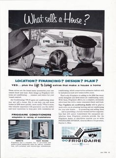 Vintage ad 1956 Frigidaire Air Conditioning real estate home Mad Men era - Free U.S. shipping. $15.00, via Etsy.