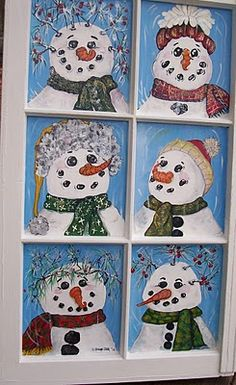 Vintage window painted with Snowmen