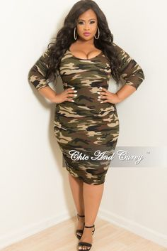 acb0e5fd9b9 Final Sale Plus Size BodyCon Dress in Camouflage Print