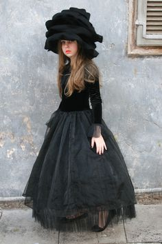 Black Rose rose and hat costume; the dress is velvet, organza and tulle. The Rose hat is made from felt by Laura Lee Burch