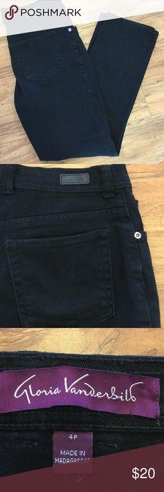 "🍃Gloria Vanderbilt Black Jeans🍃 🍃Black Gloria Vanderbilt Jeans, size 4P. Inseam is 27 "". Great condition. Gloria Vanderbilt Jeans Straight Leg"