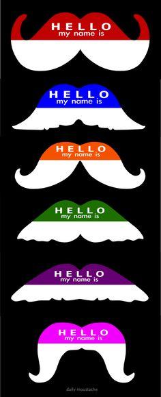 Moustache name tags!