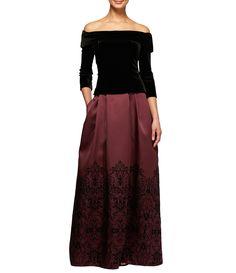 Alex Evenings OfftheShoulder Mock 2Piece Velvet Ballgown #Dillards