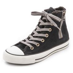 Converse Chuck Taylor All Star Side Zip Sneakers - Black ($40) ❤ liked on Polyvore featuring shoes, sneakers, converse, sapatos, black sneakers, black high tops, black leather sneakers, black high top shoes and converse sneakers