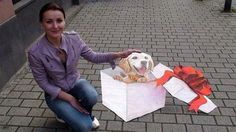 Street art: her new pup