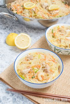 One-Pot Pancit is a quick and easy rice noodle dinner the whole family will love. With chicken, shrimp, and vegetables, this delicious recipe is gluten-free and kid-approved too! Chinese Food Menu, Easy Chinese Recipes, Rice Noodle Recipes, Pasta Recipes, Family Meals, Kids Meals, Pancit Recipe, Gluten Free Casserole, Vegetarian Recipes