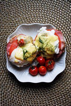 Eggs Benedict with tomato + mozzarella