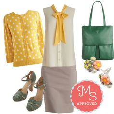 Jukebox Jubilee Cardigan,. Madison Aptitude Top in Creme, Executive Elegance Skirt, Get Loud Heel in Sage, In Dew Time Earrings in Afternoon, Joined at the Zip Bag    #workwear #polkadots #colorfultote