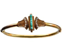 1880s Victorian Etruscan Revival Turquoise and Pearl Bracelet, 14K Gold: Erie Basin Antiques