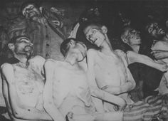 The bodies of concentration camp prisoners in the barracks Wöbbelin after the camp's liberation